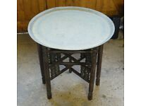 ANTIQUE ORIENTAL EASTERN BRASS TABLE WITH CARVED WOOD BASE COLLECTABLE