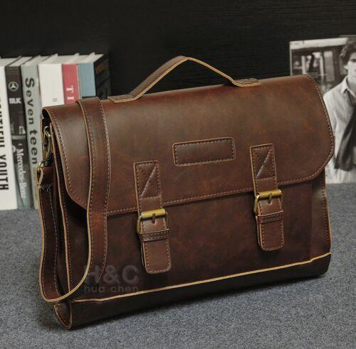 Men's PU Leather Briefcase Laptop Bag Messenger Shoulder Bag