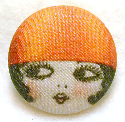 1920s Flapper Girl Button Hand Printed Fabric  Lucille  Free Us Shipping