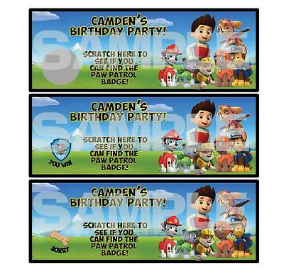 DOGS PAW PATROL BIRTHDAY PARTY game SCRATCH OFF TICKETS personalized FAVORS
