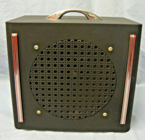 "Vintage Art Deco Metal Case 10"" Speaker Tested & Working"