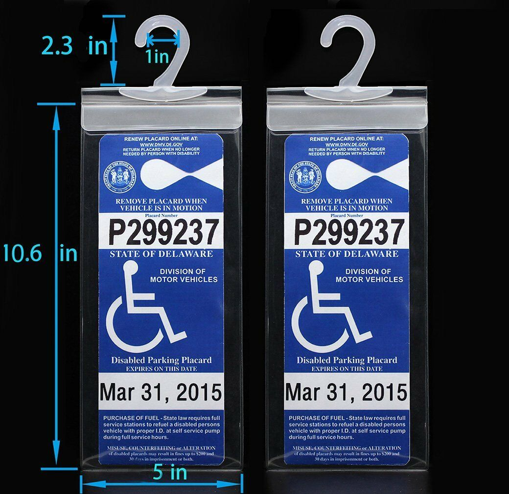 2x Handicap Parking Permit Placard Protector Cover Hanger ...