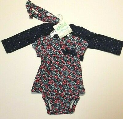 Carter's Child of Mine Baby Infant Girls 3 Piece Set Navy Newborn 0-3 6-9 M NWT  - Mine Girls