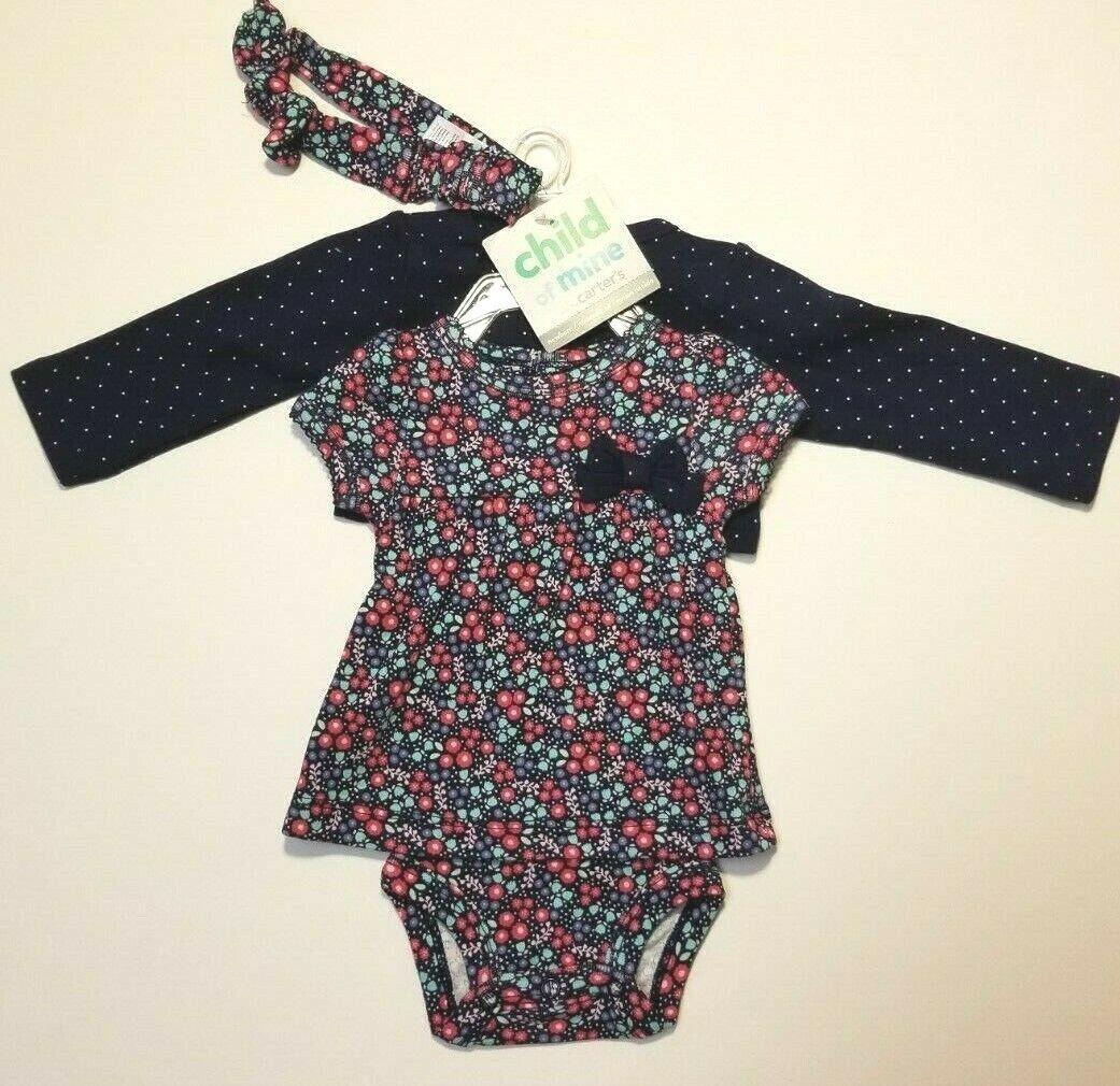 Carter's Child of Mine Baby Infant Girls 3 Piece Set Navy Ne