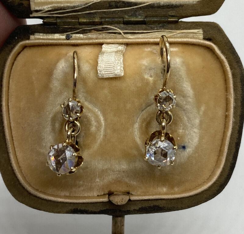 Antique Georgian 2.2 ct Rose Cut Diamond Drop Pierced Earrings 14k Gold