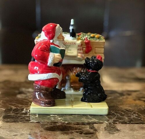 Vintage 2002 Coca-Cola Christmas Salt and Pepper Shaker Set w/Fire Place Stand