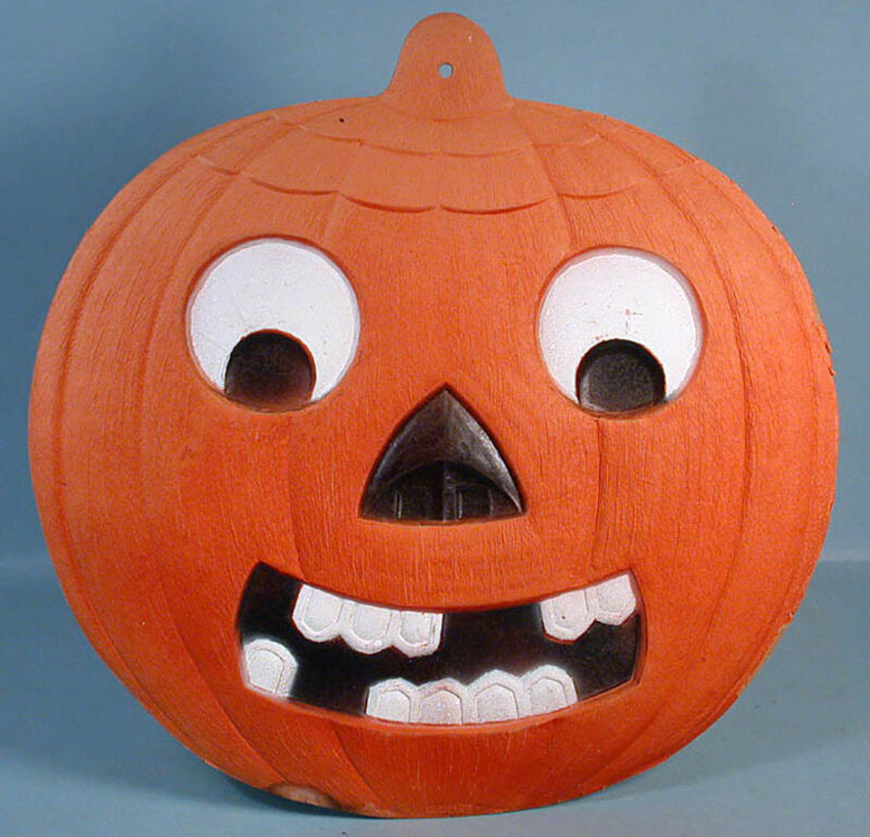 "1930s Germany Pressed Cardboard 14"" Halloween Jack-o-Lantern with Easel Back"