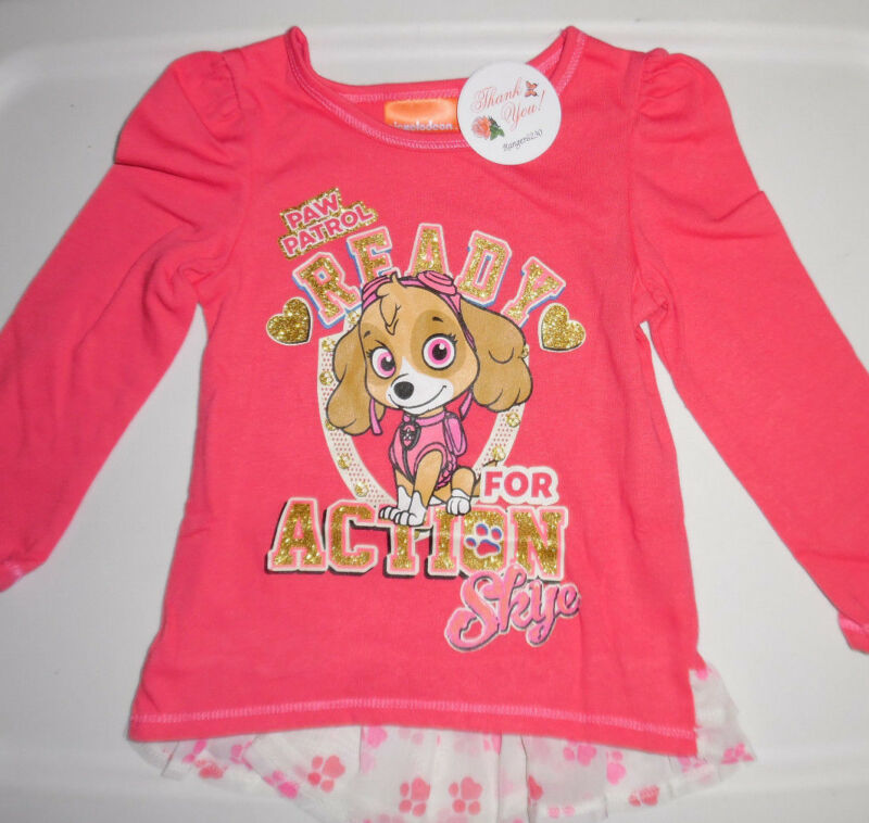 Paw Patrol Skye Girls Gold Glitter Long Sleeve T Tee Shirt Top Pink 24 Months