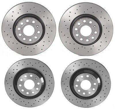 Brembo Xtra Front & Rear Brake Disc Rotors Drilled Kit For A3 TT Q S3 GTI Passat