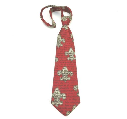 Boy Scouts Of America Necktie Burgundy Scout Motto Polyester Made In USA Used