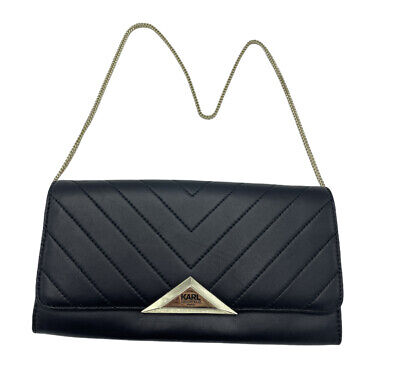 Karl Lagerfeld Paris - Black Leather Chevron Clutch Handbag, With Gold Hardware