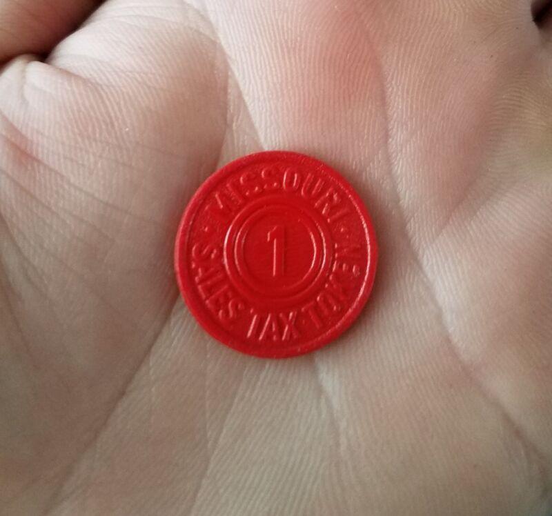 1,097 MISSOURI RED PLASTIC 1m SALES TAX TOKENS