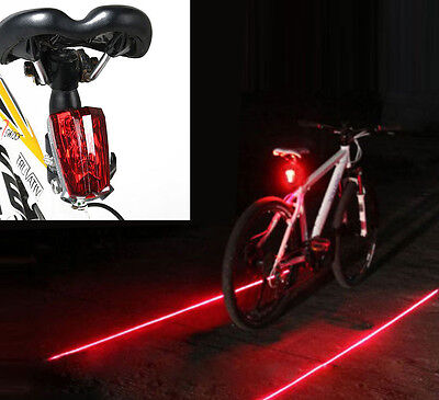 Cycling Bicycle Bike Rear Tail Safety Warning 5 LED+ 2 Laser Flashing Lamp Light