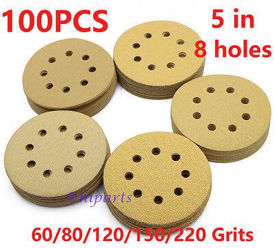 - 5in 60 80 120 150 220Grit Hook Loop Sanding Discs Orbital Sander paper Sheet Pad