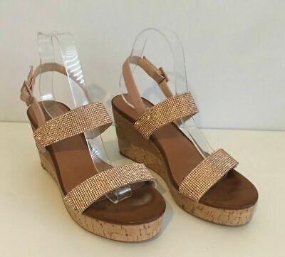 ILSE JACOBSEN Womens Diamante Wedge Sandals Shoes Cork Size 40 / UK 7  Summer