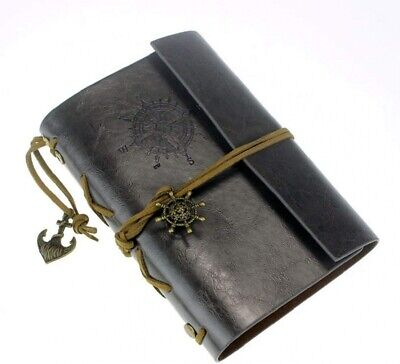AKORD Vintage Retro Leather Cover Journal Jotter Diary Notebook - Black