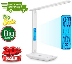 LED Desk Lamp Office,Battery Operated Lamp with Clock,Desk Light with Phone Hold