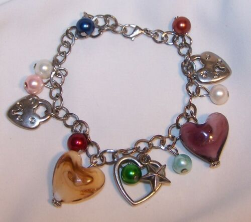 Vintage Heart Charm Valentine Bracelet-Beads Locks Stone Charms-Estate Jewelry