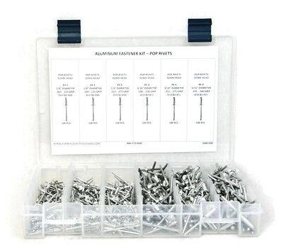 Pop Rivets Assortment All Aluminum Pop Rivet Kit 4-2 Thru 6-8 601pcs