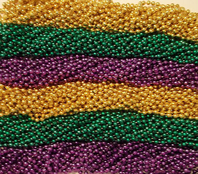 12 Purple Green Gold Mardi Gras Beads Necklaces Party Favors 1 dozen - Gold Mardi Gras Beads