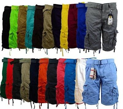 Men's Cargo Shorts with Belt Focus 32 34 36 38 40 42 44 Casual Short Black Red  (Shorts)