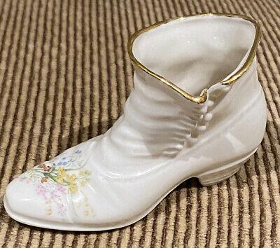 "Vintage ""Cre"" Irish Porcelain Old Fashioned High Top Shoe Floral - Old Gold Mark"