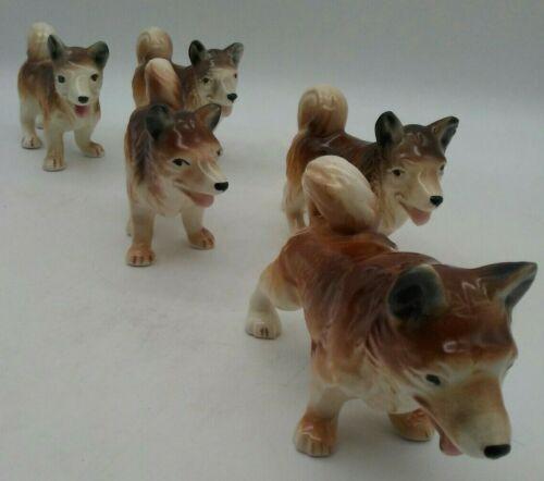 """Alaskan Dog Sled Figurines Husky Malamute Rare LOT OF 5 Mid Century Japan 5""""L"""