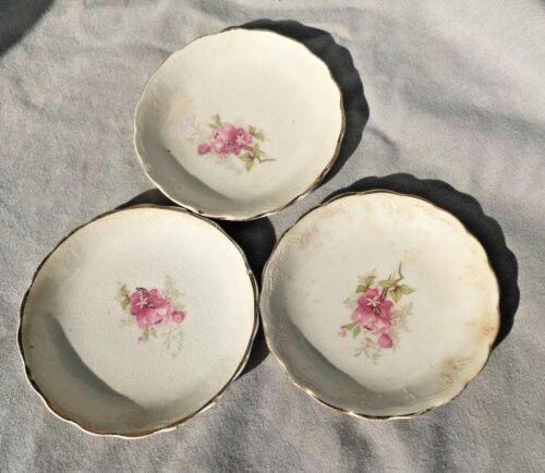 Vintage Porcelain Rose With Gold Rim butter pats Or Tea Bag Holders