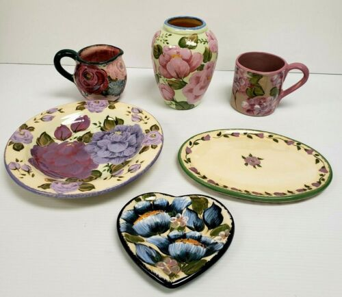 (6) Lesal Ceramics Pieces: Vase, Pitcher, Mug, Bowl, Plate, Heart Shaped Dish
