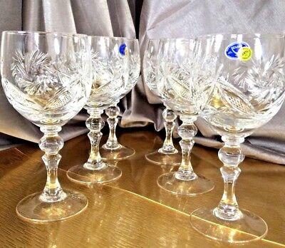 Crystal Glass Wine Champagne Set of 6 NEMAN  8 oz  250 ml  Vintage Russian Cut