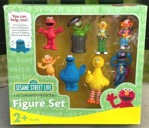 Sesame Street Figures Elmo, Big Bird, Burt, Ernie, Cookie Monster, Oscar, Grover