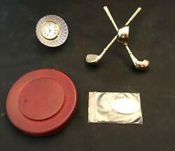 Things Remembered Golf Crystal Clock Gold NIB