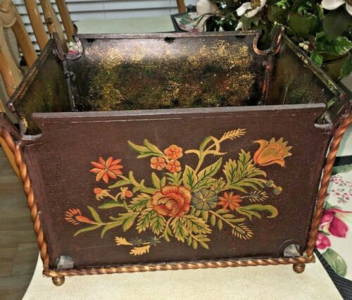 VTG BIN Tole  WROUGHT IRON HAND PAINTED  Flowers Floral