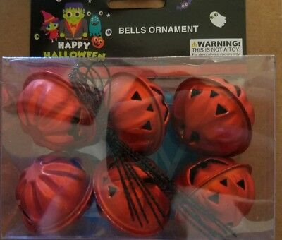 NIP Halloween Pumpkin Bell Mini Metal Tree Ornaments Decoration Set of 6 Orange - Mini Halloween Tree Ornaments