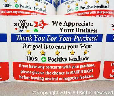 500 Ebay Amazon Thank You For Your Purchase 5 Star Shipping Labels Stickers 2x3
