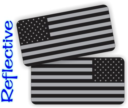 -2- REFLECTIVE Black Ops American Flag Hard Hat Helmet Decals Stickers Flags USA