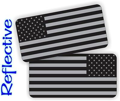 2x Reflective American Flag Black Ops Hard Hat Stickers Decals  Stealthy Flags
