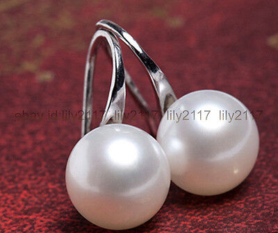 Genuine Natural 6-7mm White Akoya Freshwater Pearl Silver Dangle Earrings AAA