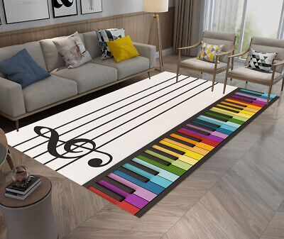 Music Note Colorful Piano Keyboard Area Rugs Kids Bedroom Living Room Floor Mat