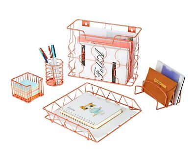 Pag Rose Gold Office Supplies 5 In 1 Metal Desk Organizer Set - Hanging File