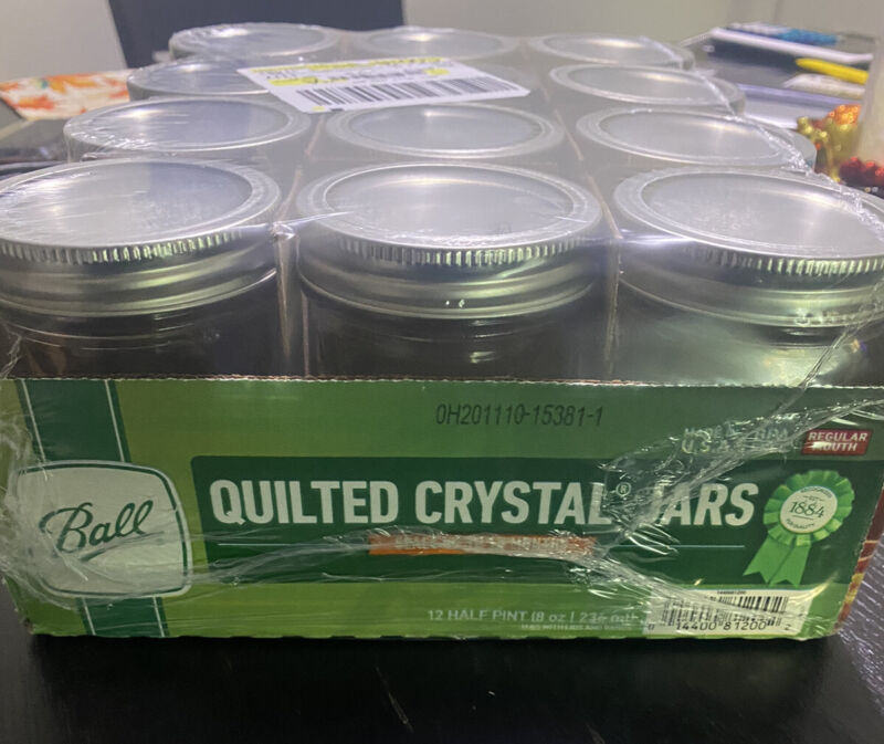12 Pack 8 oz Ball Regular Mouth Quilted Crystal Canning Mason Jelly Jars