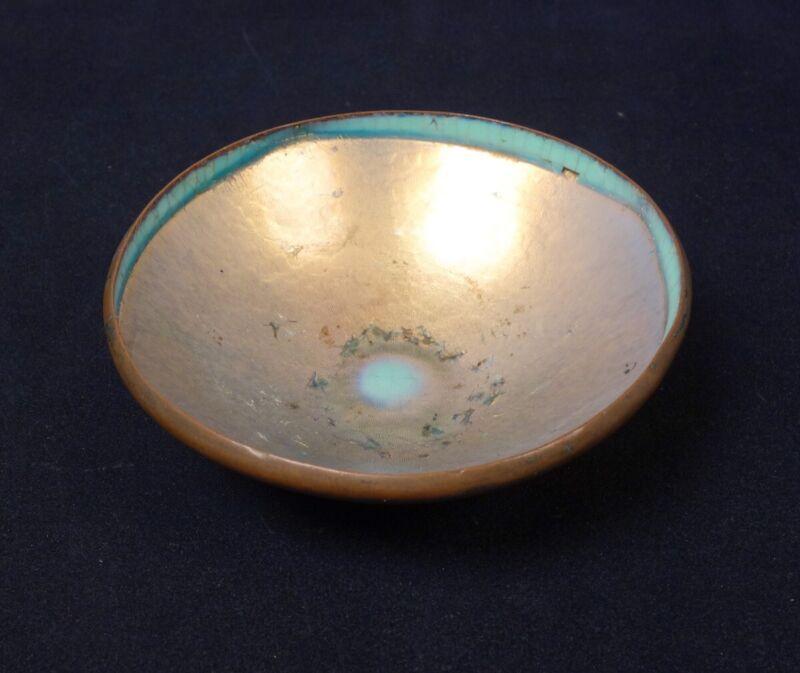 Antique Arts & Crafts c1900 Hand Wrought Copper Iridescent Enamel Bowl HTB