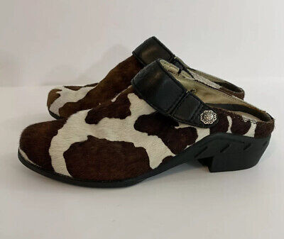 ARIAT Women's Calf Hair Leather Clogs Mules Black Brown Cow Print #94006 Sz 7.5 Cow Print Clogs