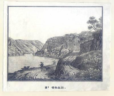 St. Goar - Lithographie bei Werbrunn 1833 Selten!