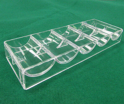 NEW 1 CASINO POKER CHIPS RACKS / TRAYS CLEAR ACRYLIC  (1pc)