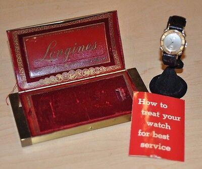 MENS LONGINES 14K GOLD FANCY LUGS WATCH MANUAL W/ ORIGINAL BOX VINTAGE DIAMOND
