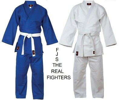 Judo Uniform GI Single Weave 450 gram White Blue +FREE Belt kids/Adults (Judo Gi Uniform)