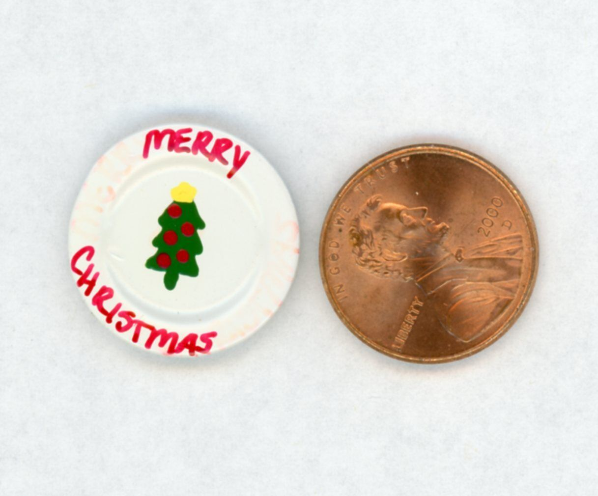 Miniature Dollhouse White Pressed Metal Plate W/ Merry Christmas and Tree