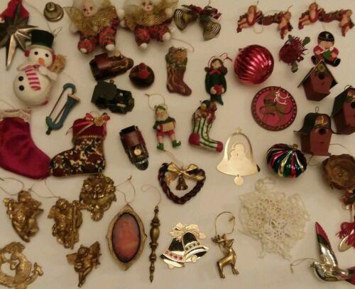 Vtg 45 Christmas tree Ornaments ceramic wooden Cherubs Birdhouse Bells Stockings
