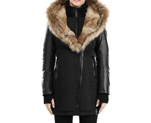 Rudsak down coat with fur and leather sleeves